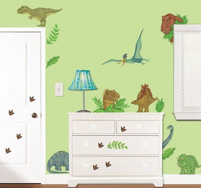 Peek a Boo Peel and Stick In Dinosaur Land Mural Room Appliques - all4wallswall-paper