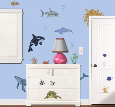 Peek a Boo Peel and Stick Under the Ocean - Sea Water Animal Mural Room Appliques - all4wallswall-paper