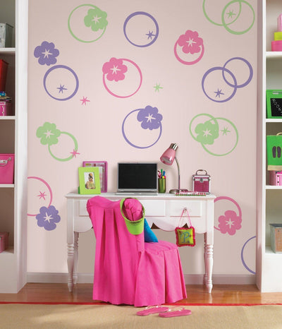 Wall Pops Hoopla Pink Circles & Flowers - all4wallswall-paper