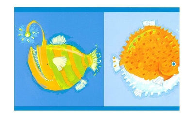 Fun Fish in Bright Colors for Kids Wallpaper Border - all4wallswall-paper