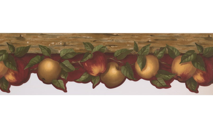 Yellow & Red Apples on Red Laser Cut Wallpaper Border - all4wallswall-paper