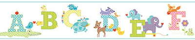 Aqua Edge Colorful Animal Alphabet Mural Sure Strip Wallpaper Border - all4wallswall-paper