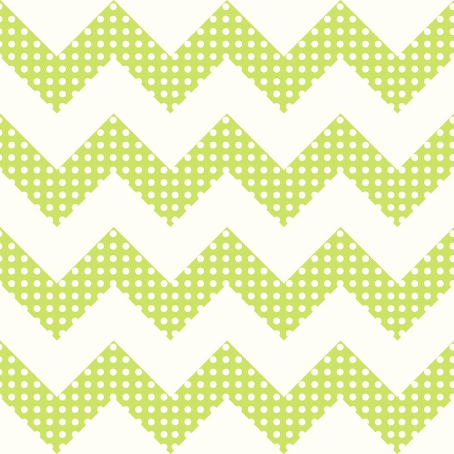 Lime Green & White Chevron Stripes with Polka Dots Sure Strip Wallpaper - all4wallswall-paper