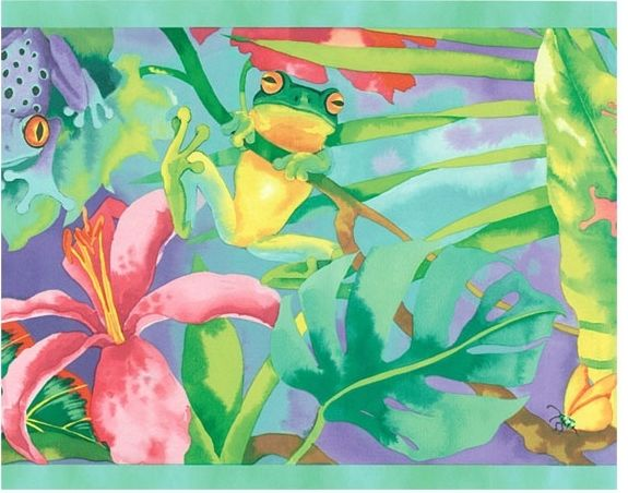 Watercolor Rainbow Rainforest Frogs Wallpaper Border - all4wallswall-paper