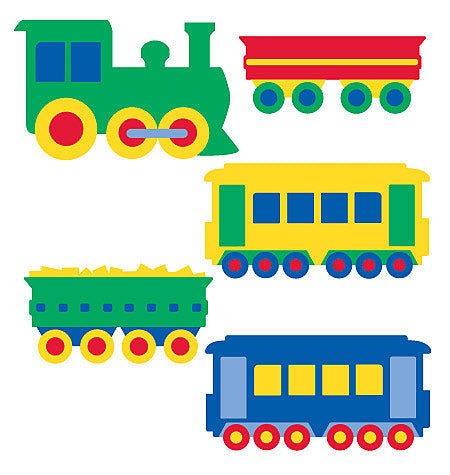 Primary Colored Train Wallies - all4wallswall-paper