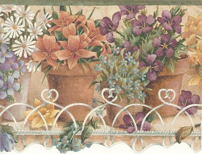Potted Floral on Wire Heart Shelf Laser Cut Wallpaper Border - all4wallswall-paper