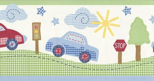 Gingham Cars Sewn on a Wallpaper Border - all4wallswall-paper