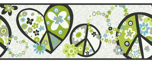 Retro Love and Peace Signs in Lime Green and Blue Wallpaper Border - all4wallswall-paper