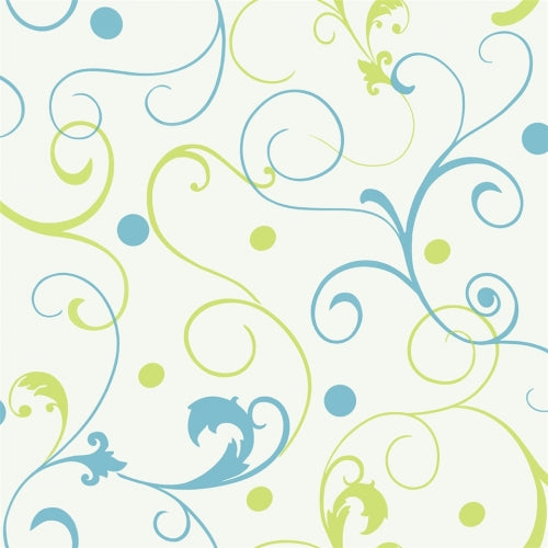 Girls Blue & Lime Green Scroll on White Wallpaper - all4wallswall-paper