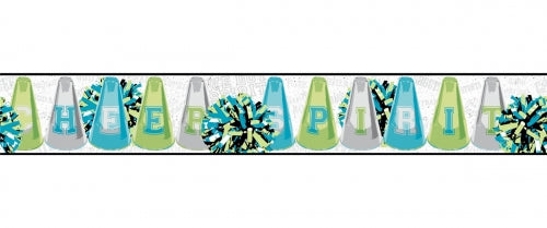 Cheerleader Cheer and Spirit in Lime Green and Blue Wallpaper Border - all4wallswall-paper