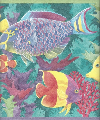 Oceans of Fish in Teal Blue Water with Coral Wallpaper Border