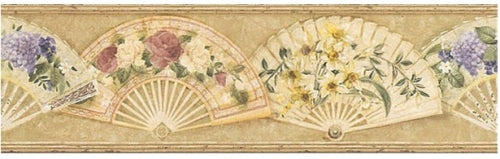 Floral Arrangements on Open Victorian Fans Wallpaper Border - all4wallswall-paper