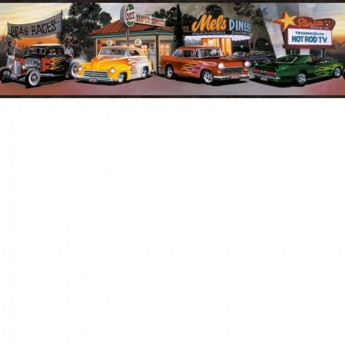 Four Decades of Hot Rod Cars Black Edge on Easy Walls Wallpaper Border