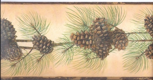 Beautiful Pine Cone and Needles on Backlit Gold Wallpaper Border - all4wallswall-paper
