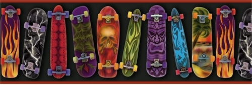 Skateboards Designs on Black with Red Edge Wallpaper Border - all4wallswall-paper