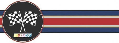 Navy, Red, Gold Stripe Nascar Laser Cut Unpasted Wallpaper Border - all4wallswall-paper