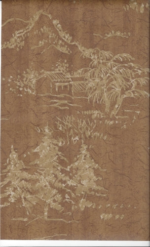 "Two Tone Gold Asian Scenes on Cocoa Brown Faux Crackle 27"" Wallpaper - all4wallswall-paper"