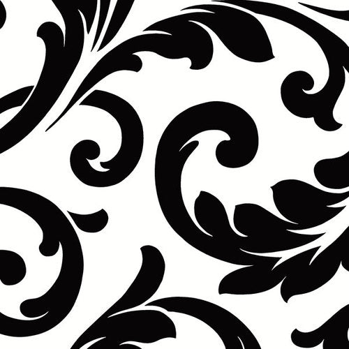 Black and White Bold Scroll Large Pattern Wallpaper