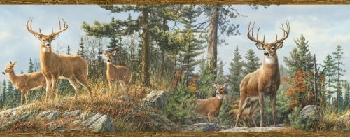 Deer on Top of the Mountain with Brown Wood Edge on Easy Walls Wallpaper Border