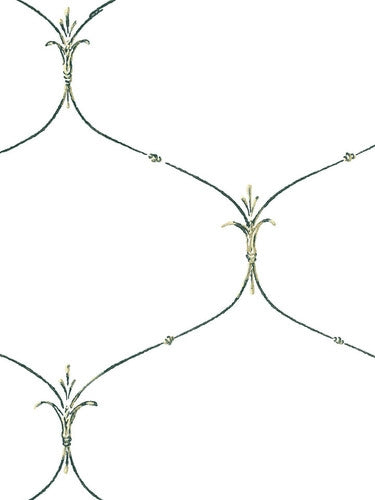 Fleur De Lis Curved Wire on White Ashford House Wallpaper - all4wallswall-paper