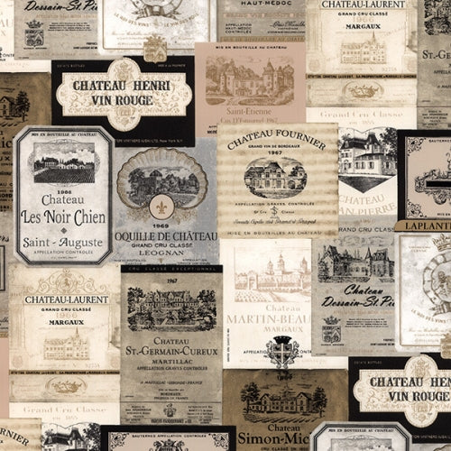 International Wine Labels in Gold & Black Wallpaper