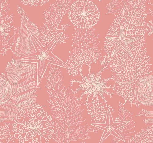 Raised Textured Coral on Satin Salmon Coral Wallpaper