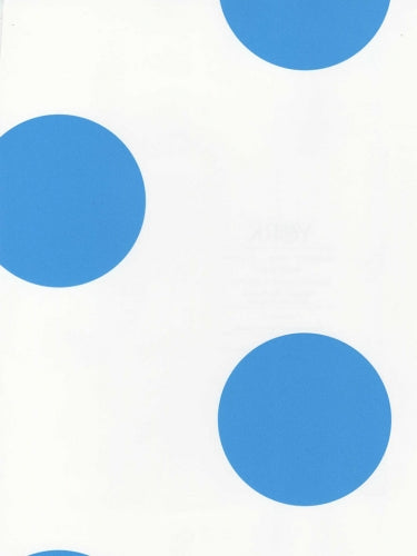 "Large Royal Blue Polka Dots on White 27"" Wallpaper - all4wallswall-paper"
