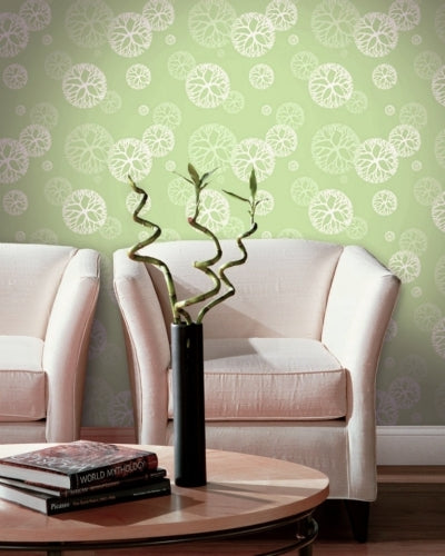 Floating Coral in a Lime Green Mist on Nextwall Wallpaper - all4wallswall-paper