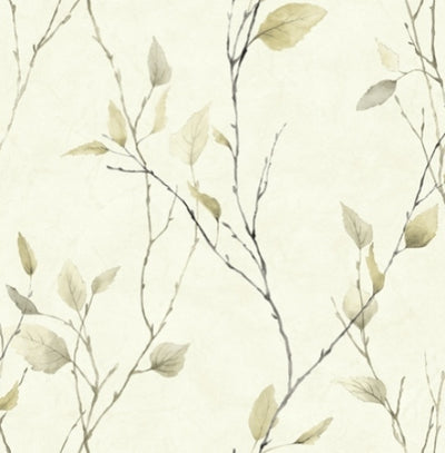 Golden Beige Leaves on Black Branches on Off White Nextwall Wallpaper - all4wallswall-paper