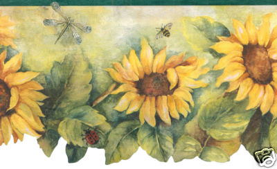 Sunflower with Dark Green Edge Floral Wallpaper Border - all4wallswall-paper