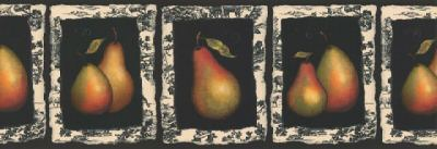 Pears on Black with French Flair Wallpaper Border - all4wallswall-paper