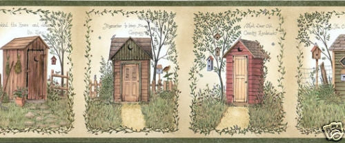 Outhouses with Country Sayings Easy Walls Wallpaper Border - all4wallswall-paper