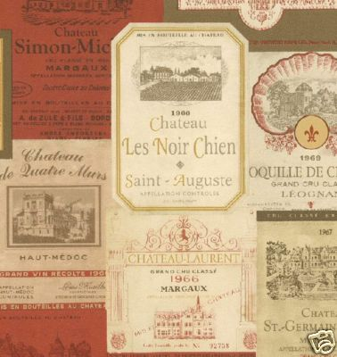 International Wine Labels in Red & Gold Wallpaper