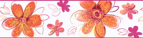Candice Olson Orange & Pink Floral Wall Border - all4wallswall-paper