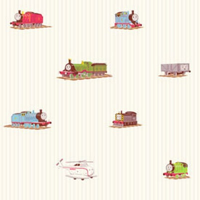 Thomas the Train on White with Blue Stripe on Sure Strip Wallpaper - all4wallswall-paper