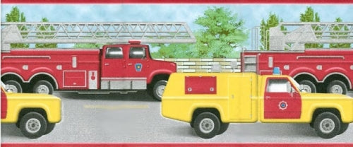 Fire Engines and Trucks in Red & Yellow Wallpaper Border - all4wallswall-paper