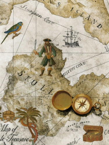 Boys Pirate Treasure Chest Map on Taupe and Beige on Sure Strip Wallpaper - all4wallswall-paper