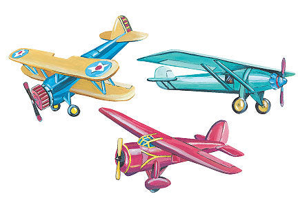 Vintage Airplanes - Planes Wallies Wallpaper Cutouts - all4wallswall-paper