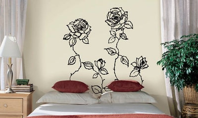 Contemporary Roses Mural Peel and Stick Appliques - all4wallswall-paper