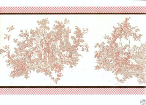 30 Foot Pink Colonial Toile & Gingham Edge Border - all4wallswall-paper