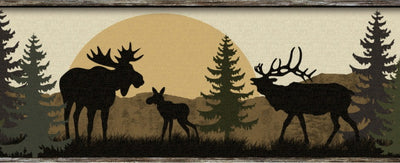 Moose, Bear, Elk, Deer Lodge Silhouettes on Sure Strip Wallpaper Border - all4wallswall-paper