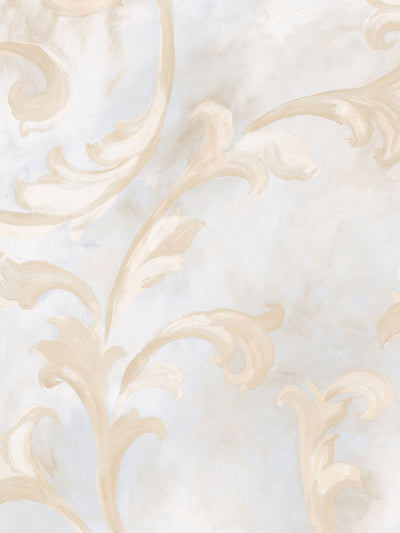 Fresco Scroll Blue and Beige Wallpaper - all4wallswall-paper