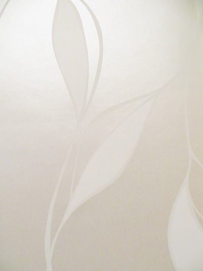 Modern Trailing Leaf in Champagne and Cream on Satin Wallpaper - all4wallswall-paper