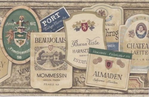 International Wine Labels on a Beige Stone Wallpaper Border - all4wallswall-paper