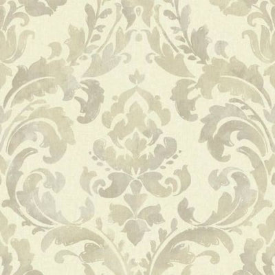 Baton Rouge Iridescent Beige Damask Unpasted Wallpaper - all4wallswall-paper