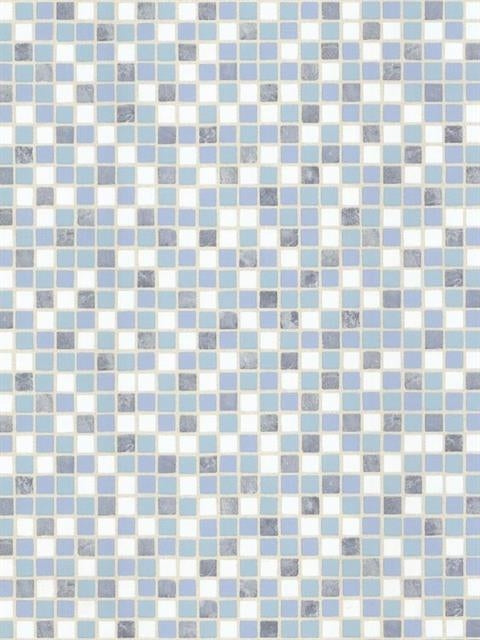 "Blue, Navy, White, Aqua Mosaic Raised 1-2"" Tile Unpasted Wallpaper - all4wallswall-paper"