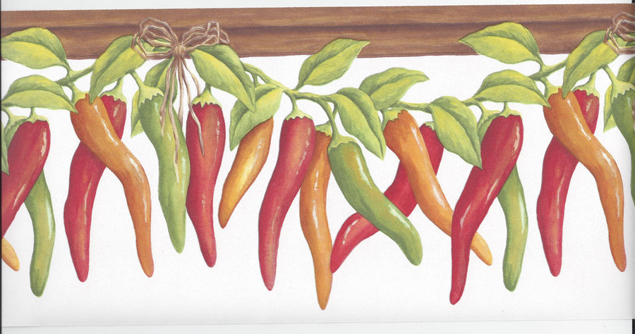 Mexican Chili Peppers on the Vine on White Wallpaper Border - all4wallswall-paper