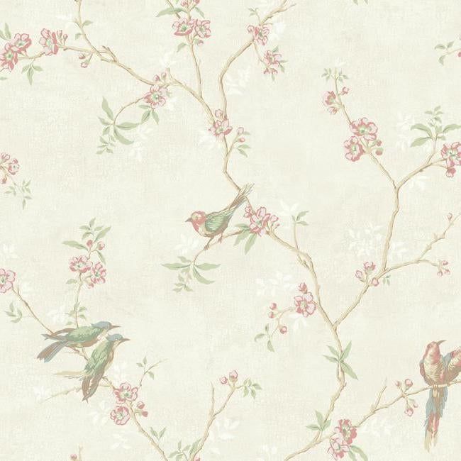 "Birds on Cream Satin with Pink Floral Branches 27"" Unpasted Wallpaper"
