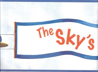 Sky's The Limit Vintage Airplane Mural on Sure Strip Wallpaper Border - all4wallswall-paper