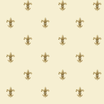 Golden Fleur de Lis Dotted on Cream Background Wallpaper - all4wallswall-paper